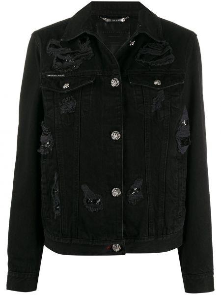 Черная джинсовая куртка с манжетами с воротником металлическая Philipp Plein
