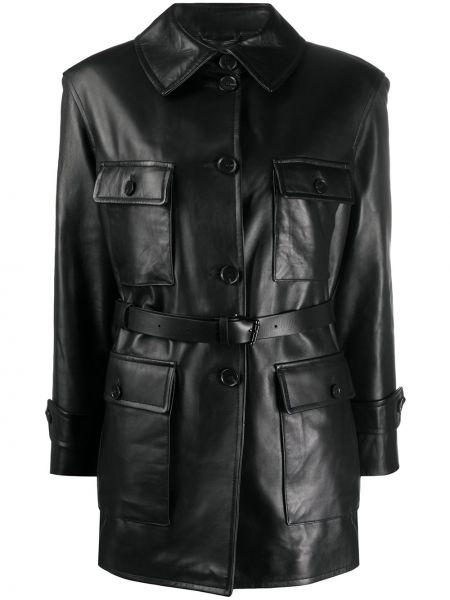 Прямая черная куртка круглая с поясом Desa 1972