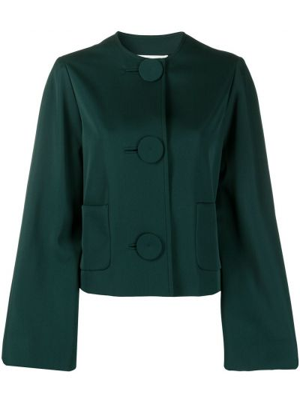 Зеленая кожаная куртка с накладными карманами Lanvin