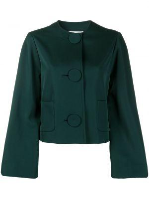 Укороченная кожаная куртка - зеленая Lanvin