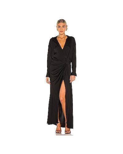 Черное шелковое платье макси на крючках L'academie