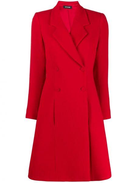 Красное шерстяное длинное пальто с капюшоном Styland