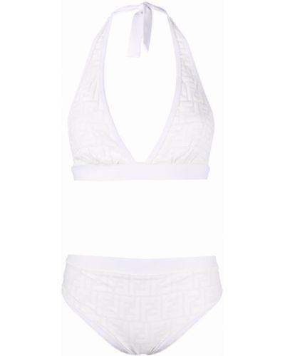 Biały bikini z wysokim stanem z printem Fendi