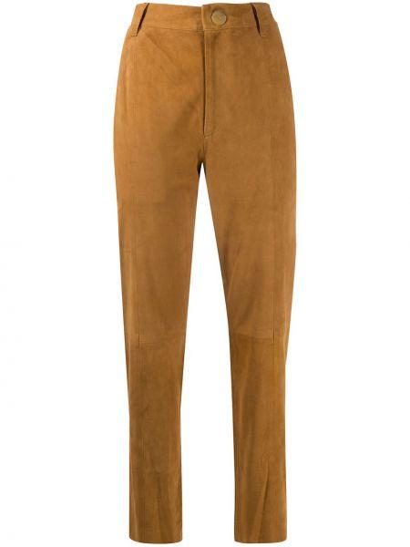 Коричневые кожаные укороченные брюки на молнии Forte Forte