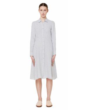 Платье макси серое в полоску 120% Lino