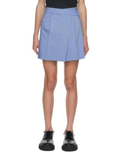 Шерстяная синяя юбка мини с карманами Helmut Lang