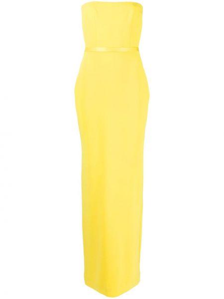 Вечернее платье атласное - желтое Alex Perry