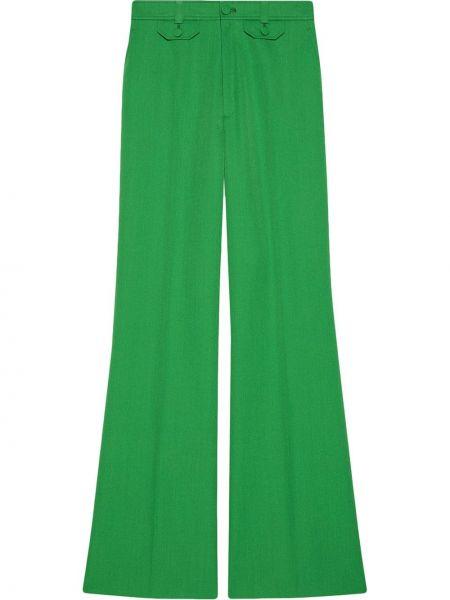 Zielony wełniany spodni spodnie z kieszeniami Gucci