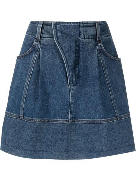 Хлопковая синяя с завышенной талией джинсовая юбка Chloé