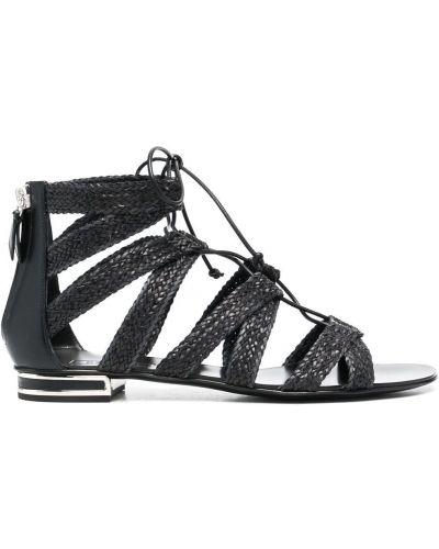 Черные кожаные сандалии-гладиаторы на шнуровке Casadei