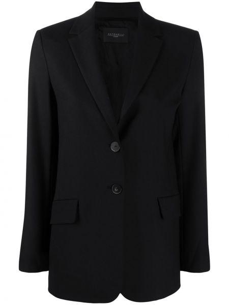 Однобортный черный приталенный классический пиджак Antonelli