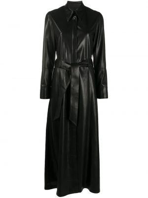 Кожаное с рукавами черное платье макси Nanushka