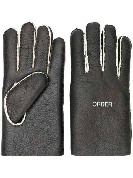 Czarne rękawiczki skorzane na co dzień Undercover