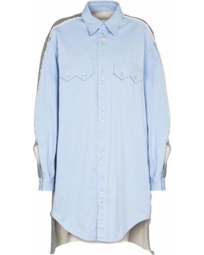 Ватная хлопковая синяя рубашка Mm6 Maison Margiela
