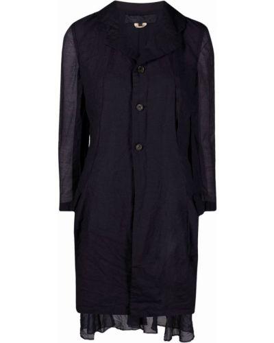 Однобортное синее длинное пальто на пуговицах Comme Des Garçons Comme Des Garçons