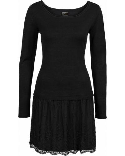 Облегающее платье с длинными рукавами ажурное Bonprix