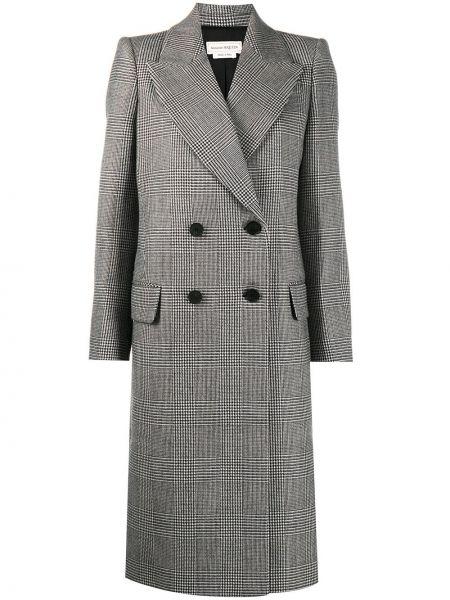 Шерстяное черное длинное пальто в клетку Alexander Mcqueen