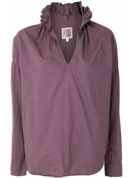 Фиолетовая блузка с длинным рукавом с оборками с V-образным вырезом свободного кроя A Shirt Thing