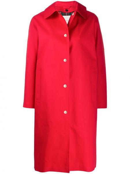 Красное шерстяное пальто классическое с капюшоном Mackintosh