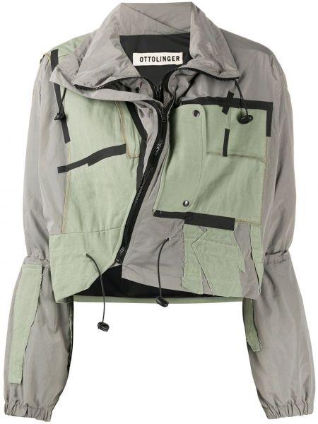 Зеленая длинная куртка с воротником с аппликациями Ottolinger