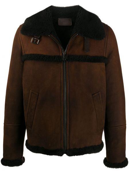 Klasyczny prosto długa kurtka z długimi rękawami z kołnierzem Prada