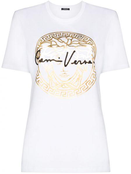 Прямая белая футболка с вырезом Versace