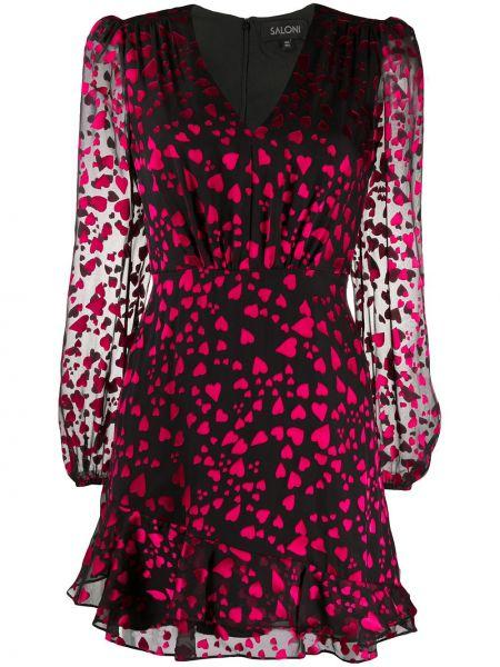 Платье мини с V-образным вырезом с рукавами Saloni