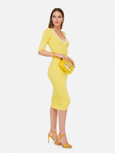 Желтое платье из вискозы Elisabetta Franchi
