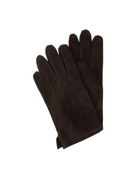 Skórzany rękawiczki prążkowany z nubuku Eem-fashion