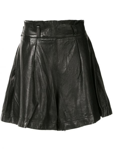 Черные плиссированные свободные брюки винтажные с поясом Issey Miyake Pre-owned