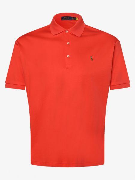 Miękki czerwony t-shirt z haftem Polo Ralph Lauren