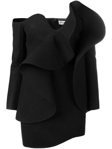 Платье миди на молнии с открытыми плечами Saint Laurent