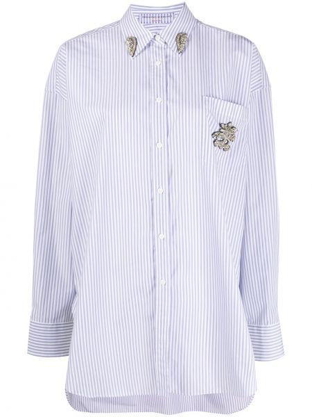 С рукавами белая классическая рубашка с воротником Ermanno Scervino