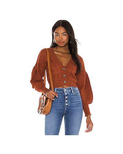 Оранжевый свитер в рубчик из вискозы For Love & Lemons