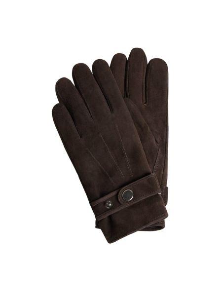 Brązowy skórzany rękawiczki prążkowany na tinsuleyte Eem-fashion