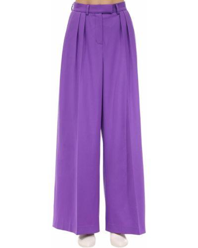 Fioletowe spodnie z wysokim stanem wełniane Lesyanebo