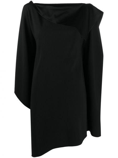 Асимметричное черное платье миди с вырезом Paule Ka