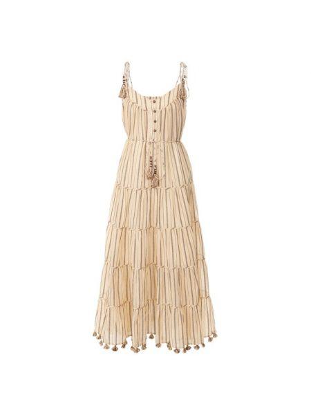 Платье с поясом в стиле бохо осеннее Zimmermann