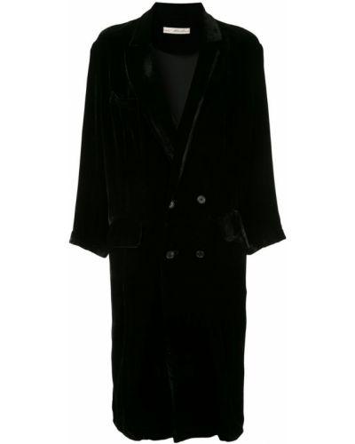 Черное пальто на пуговицах с капюшоном Aleksandr Manamïs