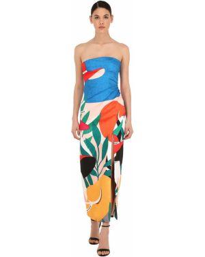 Ażurowa prążkowana sukienka z printem Sandra Mansour