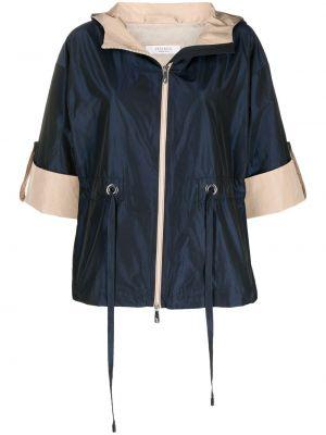 Синяя короткая куртка с капюшоном на молнии Peserico