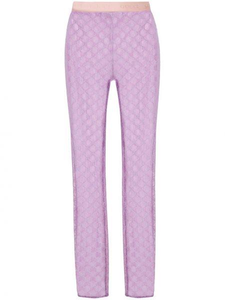 Bawełna bawełna fioletowy legginsy z haftem Gucci