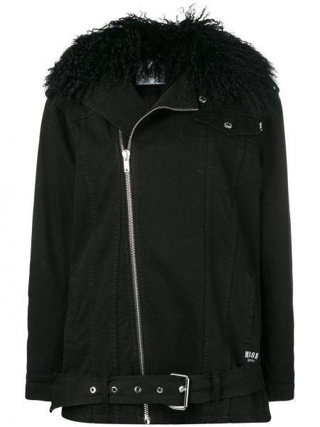 Свободная черная джинсовая куртка на молнии с воротником Msgm