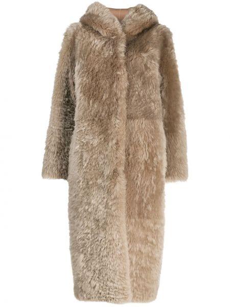 С рукавами пальто двустороннее из овчины с потайной застежкой Liska