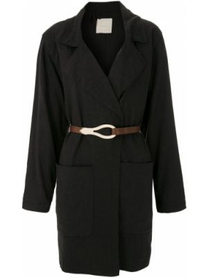 Льняное черное пальто Framed