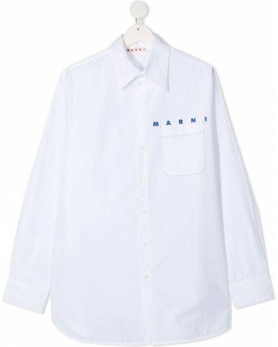 Белая классическая рубашка с воротником с карманами на пуговицах Marni Kids