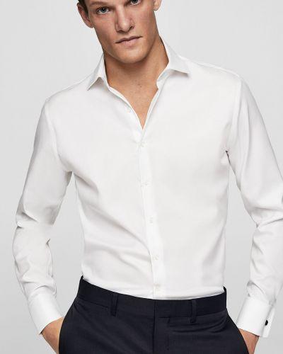Белая рубашка однотонная Mango Man