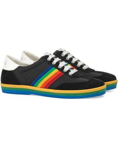 Zamsz koronkowa czarny sneakersy na sznurowadłach Gucci Kids