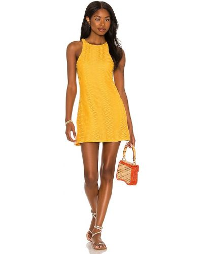 Кружевное платье мини - желтое House Of Harlow 1960