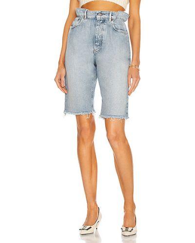 Синие ватные джинсовые бермуды с карманами Miu Miu